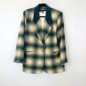 BRAETAN Vintage Green Plaid Wool Suede Blazer
